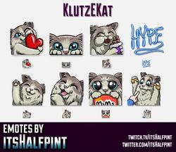 KlutzEKat  | Cat Emotes | Twitch Emotes | Cute Emotes | Custom Twitch Emotes | Emote Commissions | i