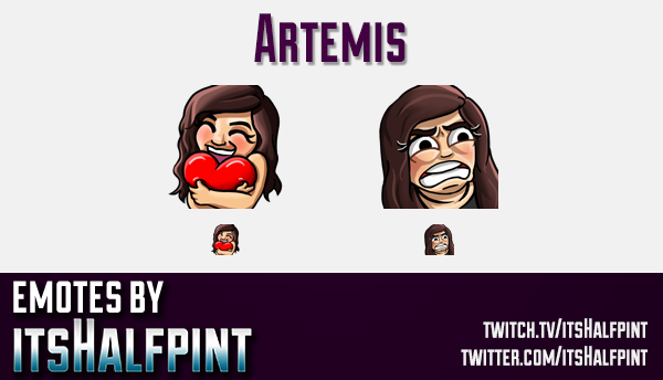 Artemis | Twitch Emotes | Cute Emotes | Custom Twitch Emotes | Emote Commissions | itsHalfpint | Mix