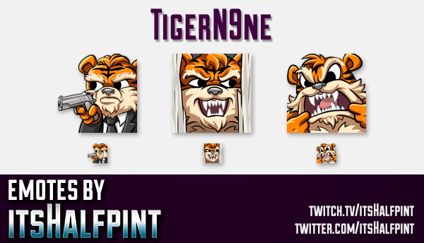 TigerN9ne  | Twitch Emotes | Cute Emotes | Custom Twitch Emotes | Emote Commissions | itsHalfpint |