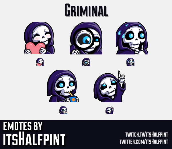 Griminal | Twitch Emotes | Cute Emotes | Custom Twitch Emotes | Emote Commissions | itsHalfpint | Mi