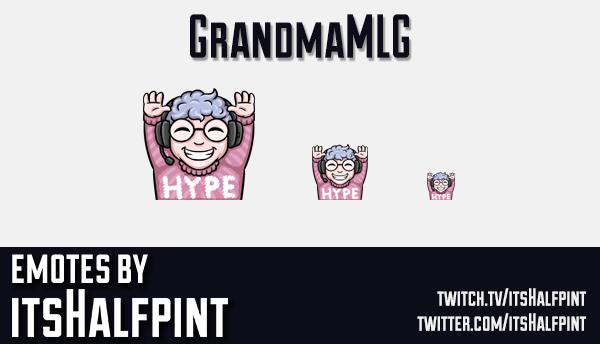 GrandmaMLG | Twitch Emotes | Cute Emotes | Emote Commissions | itsHalfpint
