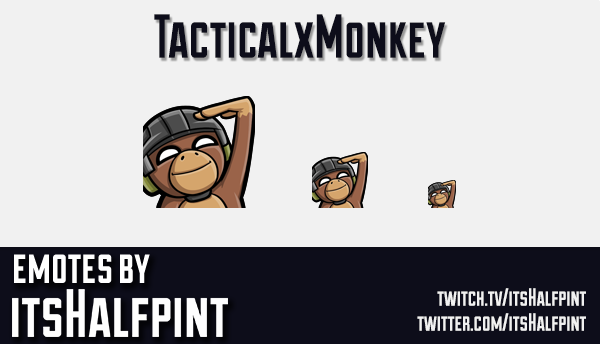 TacticalxMonkey | Twitch Emotes | Cute | Custom | Commissions | itsHalfpint