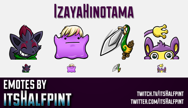 IzayaHinotama  | Twitch Emotes | Cute Emotes | Custom Twitch Emotes | Emote Commissions | itsHalfpin