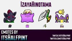 IzayaHinotama  | Twitch Emotes | Cute Emotes | Custom Twitch Emotes | Emote Commissions | itsHalfpin