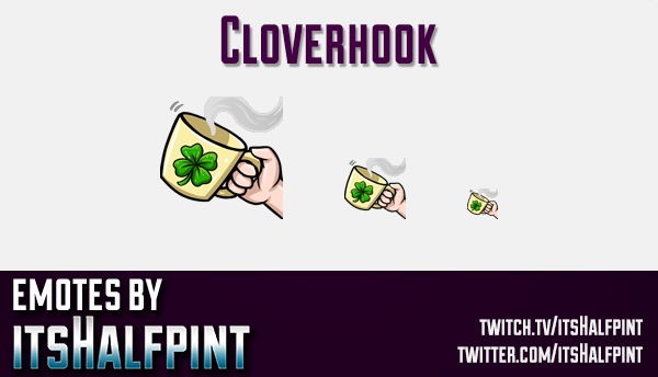 Cloverhook | Twitch Emotes | Cute Emotes | Custom Twitch Emotes | Emote Commissions | itsHalfpint |