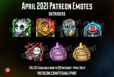 Outriders Pyromancer Technomancer Trickster Devastator Twitch Emotes Patreon - itshalfpint - cute sub badges