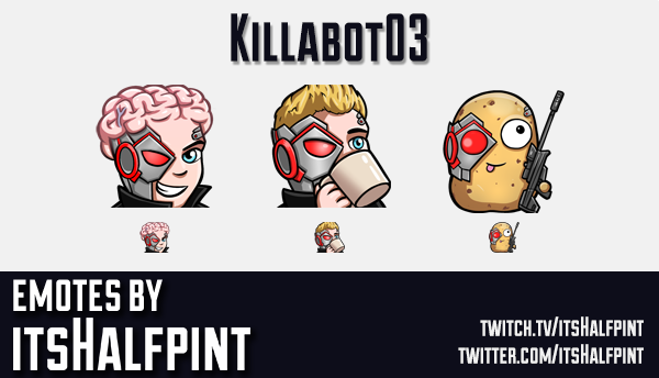 Killabot03 | Twitch Emotes | Cute Emotes | Emote Artist | itsHalfpint