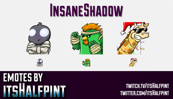InsaneShadow | Twitch Emotes | Cute Emotes | Custom Twitch Emotes | Emote Commissions | itsHalfpint
