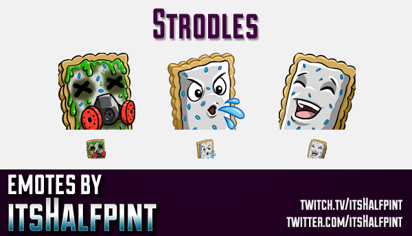 Strodles  | Twitch Emotes | Cute Emotes | Custom Twitch Emotes | Emote Commissions | itsHalfpint | M