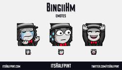 BingiiHm | itsHalfpint emote artist| Twitch Emotes | Cute | Custom | Commissions pepehands monkaS hy