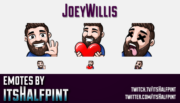 JoeyWillis  | Twitch Emotes | Cute Emotes | Custom Twitch Emotes | Emote Commissions | itsHalfpint |