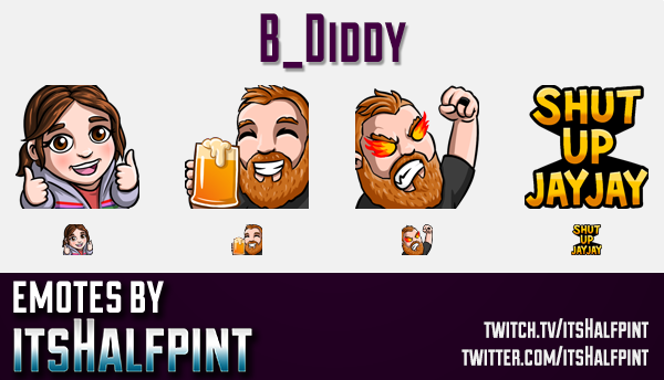 B_Diddy  | Twitch Emotes | Cute Emotes | Custom Twitch Emotes | Emote Commissions | itsHalfpint | Mi
