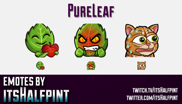 PureLeaf  | Twitch Emotes | Cute Emotes | Custom Twitch Emotes | Emote Commissions | itsHalfpint | M