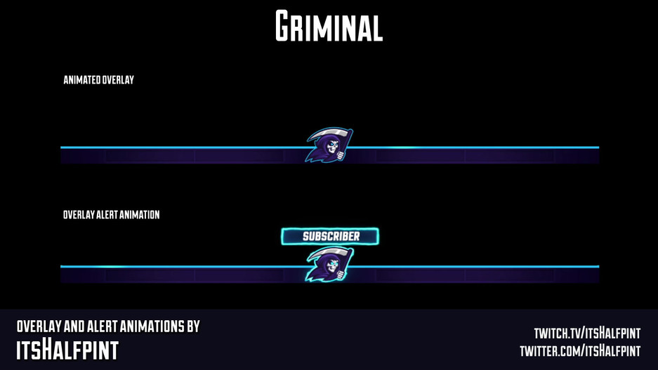 Griminal- Animated Twitch Overlay Alerts Follow Sub Logo Animation Motion Graphics