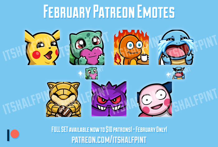 Pokemon Twitch Emotes Patreon - itshalfpint - pikachu squirtle bulbasaur charmander cute sub badges