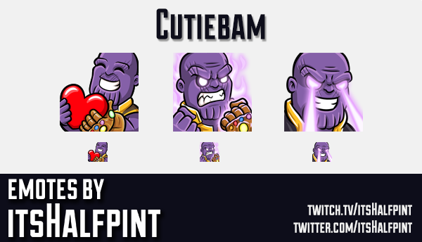 Cutiebam | Thanos | Avengers | Marvel  | Twitch Emotes | Cute | Custom | Commissions | itsHalfpint