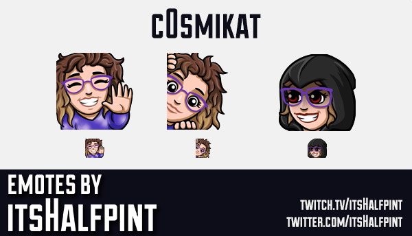 c0smikat | Twitch Emotes | Cute Emotes | Custom Twitch Emotes | Emote Commissions | itsHalfpint | Mi
