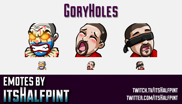 GoryHoles  | Twitch Emotes | Cute Emotes | Custom Twitch Emotes | Emote Commissions | itsHalfpint |