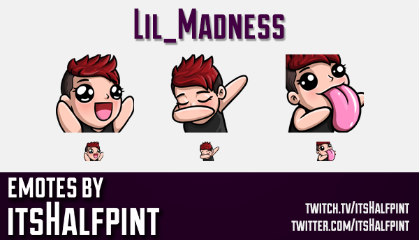 Lil_Madness  | Twitch Emotes | Cute Emotes | Custom Twitch Emotes | Emote Commissions | itsHalfpint