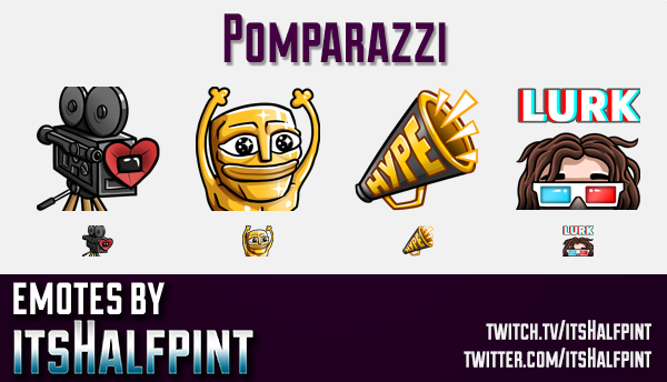 Pomparazzi  | Twitch Emotes | Cute Emotes | Custom Twitch Emotes | Emote Commissions | itsHalfpint |