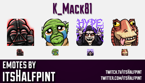 K_Mack81 | Star Wars Emotes | | Twitch Emotes | Cute Emotes | Custom Twitch Emotes | Emote Commissio