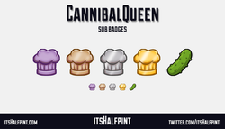 CannibalQueen itsHalfpint   Twitch   Sub Badges   Twitch emotes   Emote artist   commission cute che