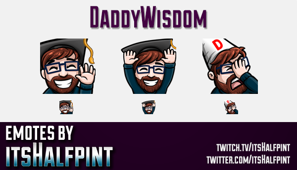 DaddyWisdom  | Twitch Emotes | Cute Emotes | Custom Twitch Emotes | Emote Commissions | itsHalfpint