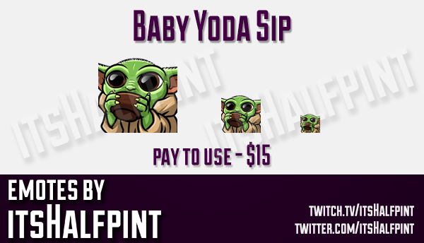 Baby Yoda Emote  | Twitch Emotes | Cute Emotes | Custom Twitch Emotes | Emote Commissions | itsHalfp