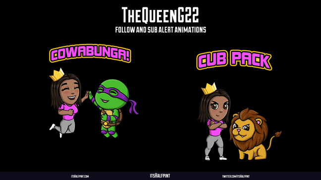 TheQueenG22- Follow Subscribe Animations Twitch Overlay Alerts Character illustrations