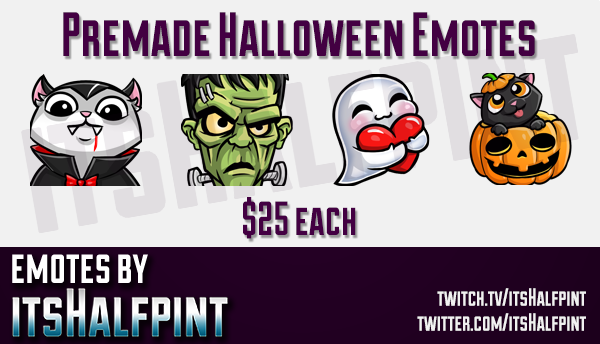 Halloween Emotes  | Twitch Emotes | Cute Emotes | Custom Twitch Emotes | Emote Commissions | itsHalf