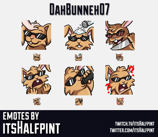DahBunneh07 | Twitch Emotes | Cute Emotes | Emote Artist | itsHalfpint | Rabbit