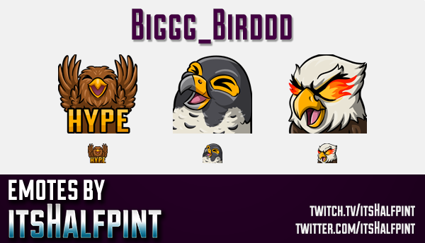 Biggg_Birddd  | Twitch Emotes | Cute Emotes | Custom Twitch Emotes | Emote Commissions | itsHalfpint