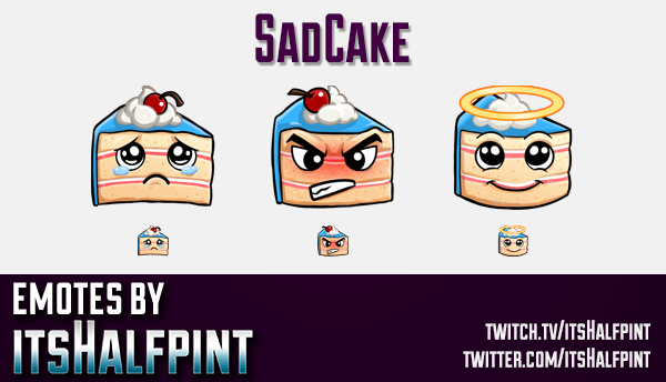 SadCake | Twitch Emotes | Cute Emotes | Custom Twitch Emotes | Emote Commissions | itsHalfpint | Mix