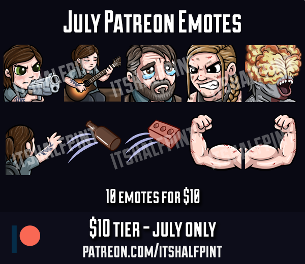 twitch emotes cute last of us joel ellie abby sad cry rage gun