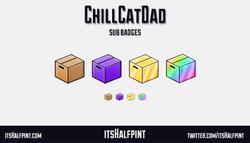 ChillCatDad itsHalfpint   Twitch   Sub Badges   Twitch emotes   Emote artist   commission cute bit b