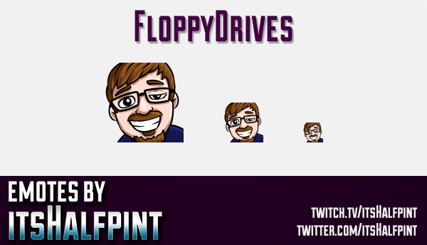 FloppyDrives | Twitch Emotes | Cute Emotes | Custom Twitch Emotes | Emote Commissions | itsHalfpint