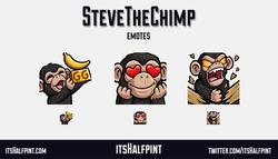 SteveTheChimp | itsHalfpint emote artist| Twitch Emotes | Cute | Custom | Commissions  Chimp monkey