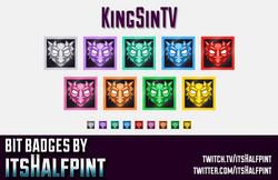 KingSinTV- sub badges twitch emotes bit dragon cute cool clean