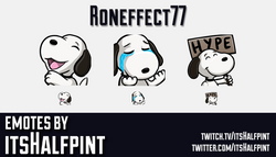 Roneffect77 | Twitch Emotes | Cute Emotes | Emote Artist | itsHalfpint | Snoopy