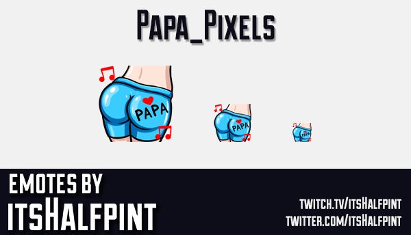 Papa_Pixels | Twitch Emotes | Cute Emotes | Emote Artist | itsHalfpint | Butt Emote