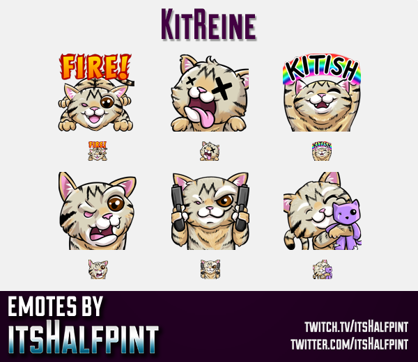 KitReine | Twitch Emotes | Cute Emotes | Custom Twitch Emotes | Emote Commissions | itsHalfpint | Mi
