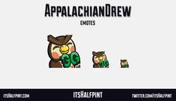 AppalachianDrew - Twitch emote cute animal crossing blathers gg happy sub badges