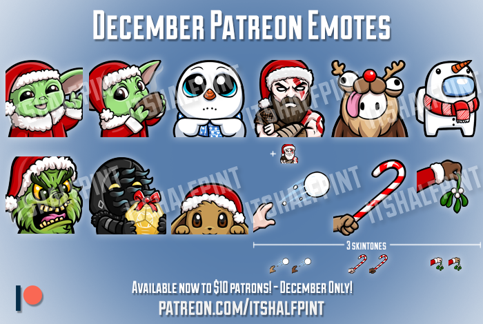 twitch emotes xmas christmas holidays baby yoda cute pokemon among us destiny 2
