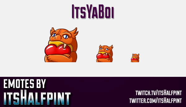 ItsYaBoi  | Twitch Emotes | Cute Emotes | Custom Twitch Emotes | Emote Commissions | itsHalfpint | M