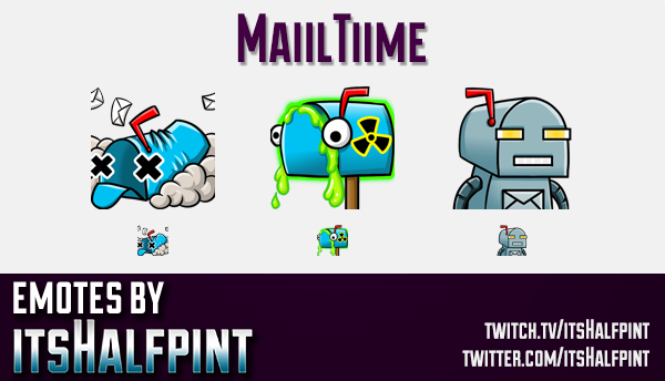 MaiilTiime | Twitch Emotes | Cute Emotes | Custom Twitch Emotes | Emote Commissions | itsHalfpint |