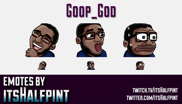 Goop_god  | Twitch Emotes | Cute Emotes | Custom Twitch Emotes | Emote Commissions | itsHalfpint | M