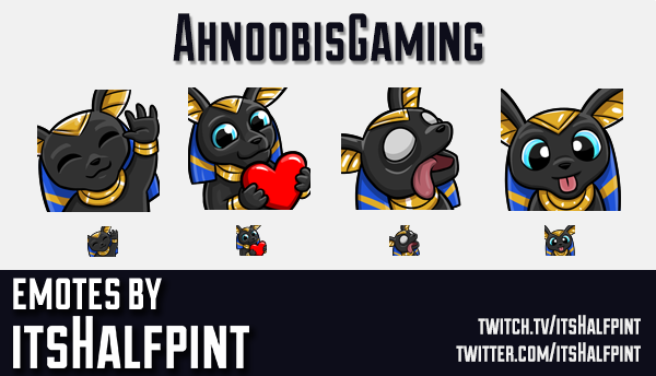 AhnoobisGaming | Twitch Emotes | Cute | Custom | Commissions | itsHalfpint