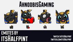 AhnoobisGaming | Twitch Emotes | Cute | Custom | Commissions | itsHalfpint