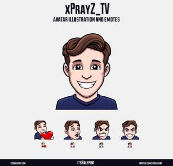 xPrayZ itsHalfpint twitch emote artist | sub bit badge | avatar logo illustration | custom cute