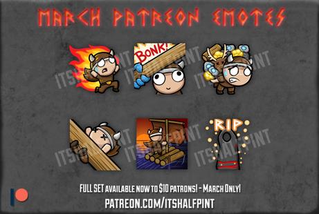 Valheim Twitch Emotes Patreon - itshalfpint - viking cute sub badges
